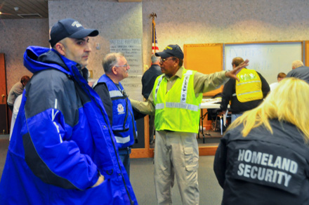 W9TDI getting instruction from CC EMA Director Les Kavanaugh after March 2 tornado