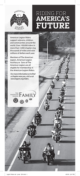 American Legion Riders Ad - 1/2 page tabloid print ad - black and white
