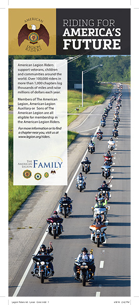American Legion Riders Ad - 1/2 page tabloid print ad - color