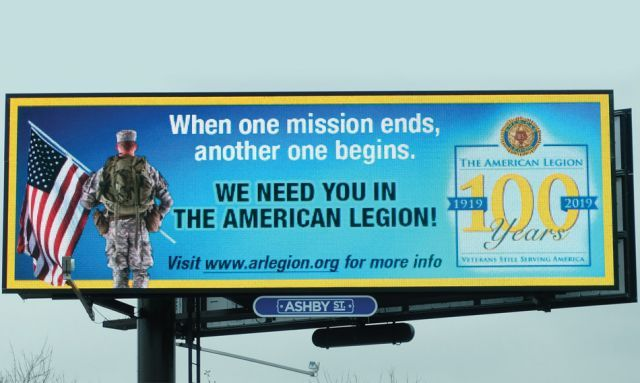 Billboards promote the Legion in Arkansas