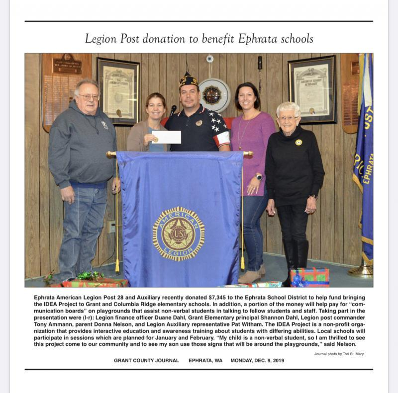 American Legion Post 28 (Ephrata, Wash.) donates to school district