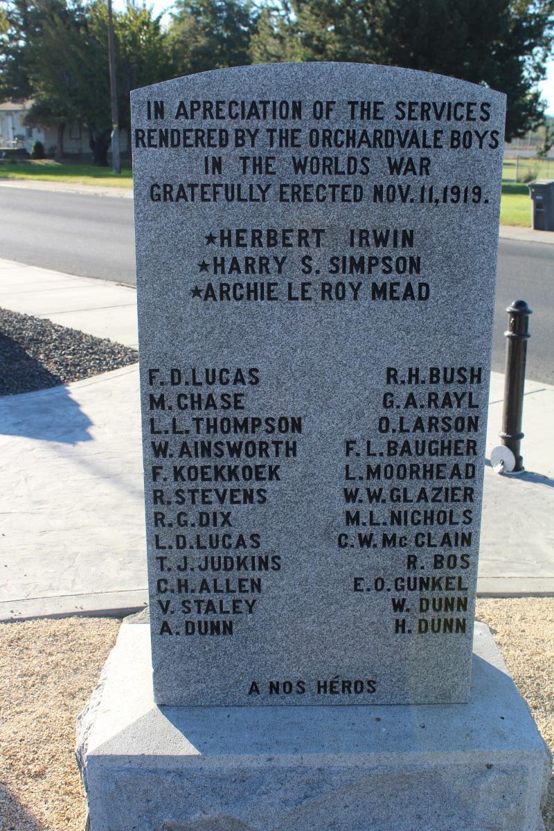 Orchardvale WWI Monument