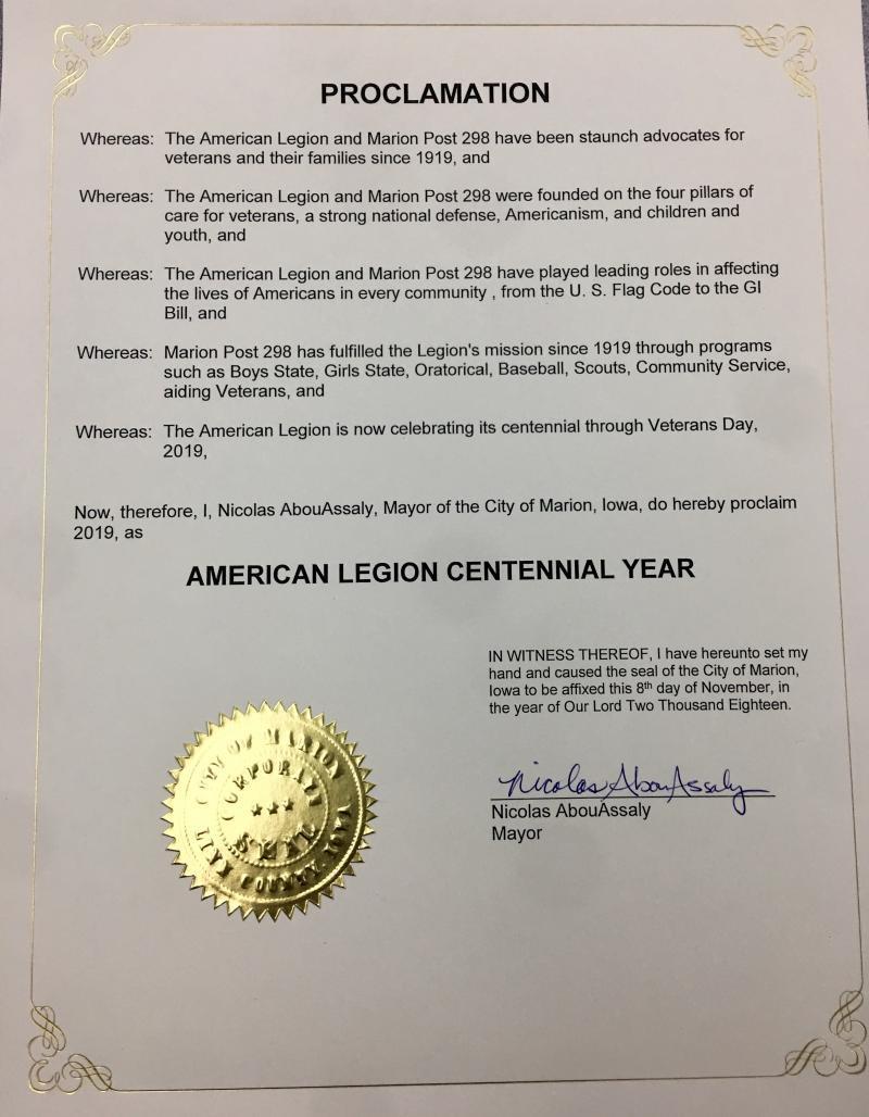 Iowa mayor proclaims 2019 as American Legion Centennial Year