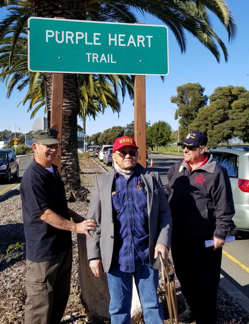 Vallejo, Calif.: 76th Pearl Harbor Day; Purple Heart Trail sign