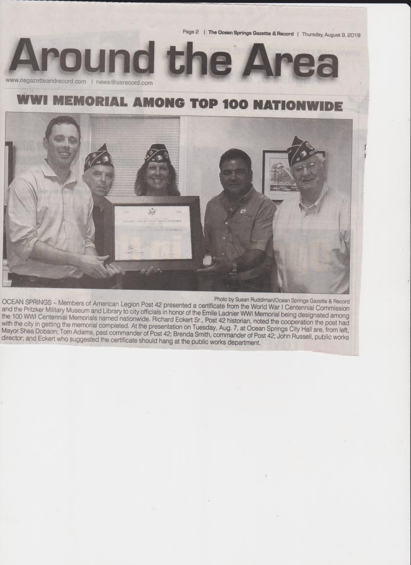 Emile Ladnier WWI Memorial/Pershing Square Certificate/Award, Ocean Springs, Miss.
