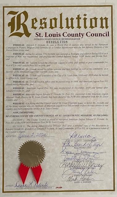 Missouri Post 302 proclaimed as POW-MIA Memorial Post for St. Louis County
