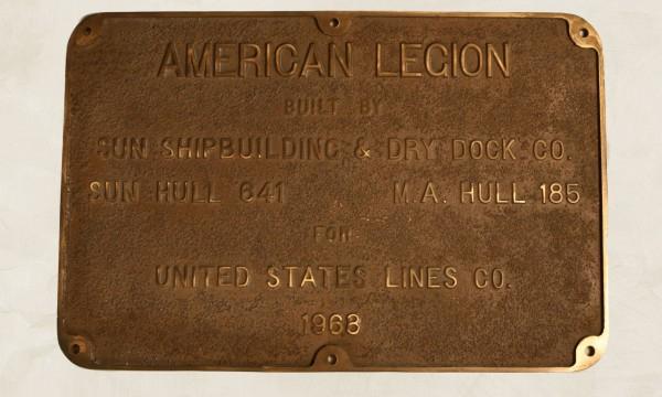 SS American Legion plaque