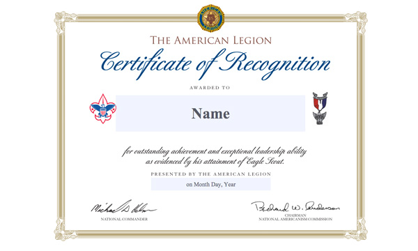 Legion awards eagle scout of the year to tennessee youth for Eagle scout certificate template