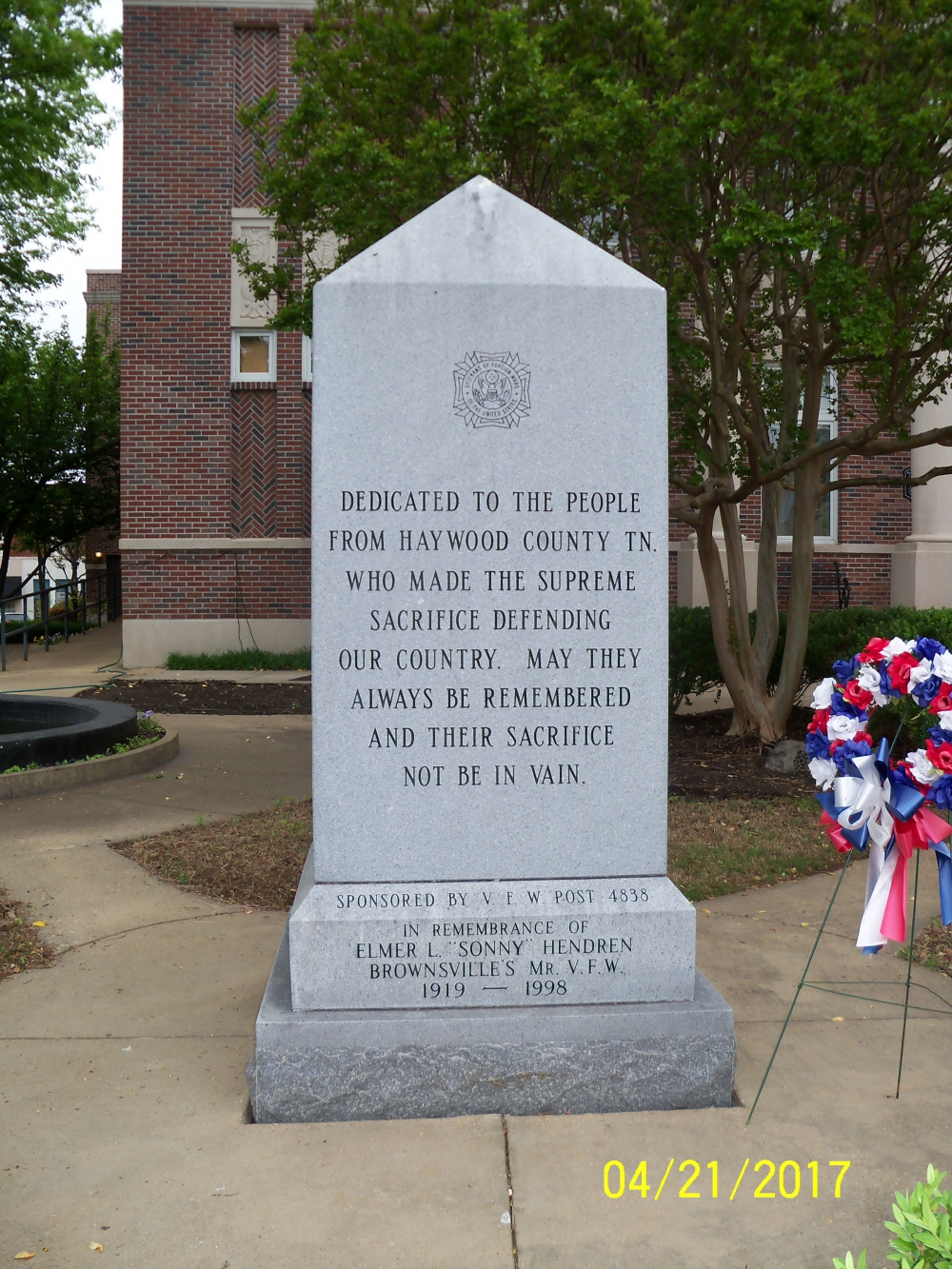 Haywood County War Memorial - Brownsville, TN