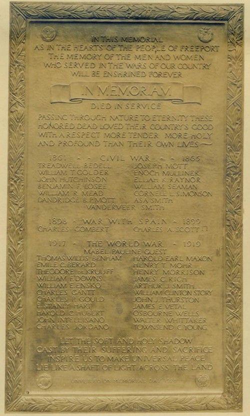 Memorial Tablet: Civil War; Spanish American War; and World War I