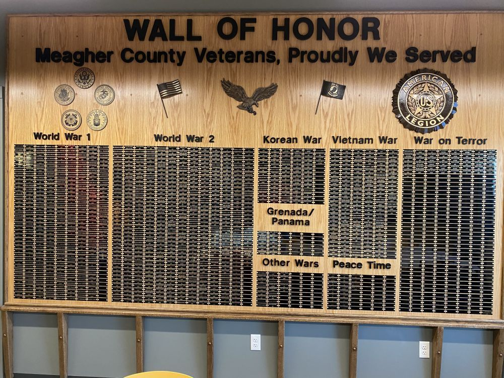 Wall of Honor, Meagher County Veterans, Proudly We Served