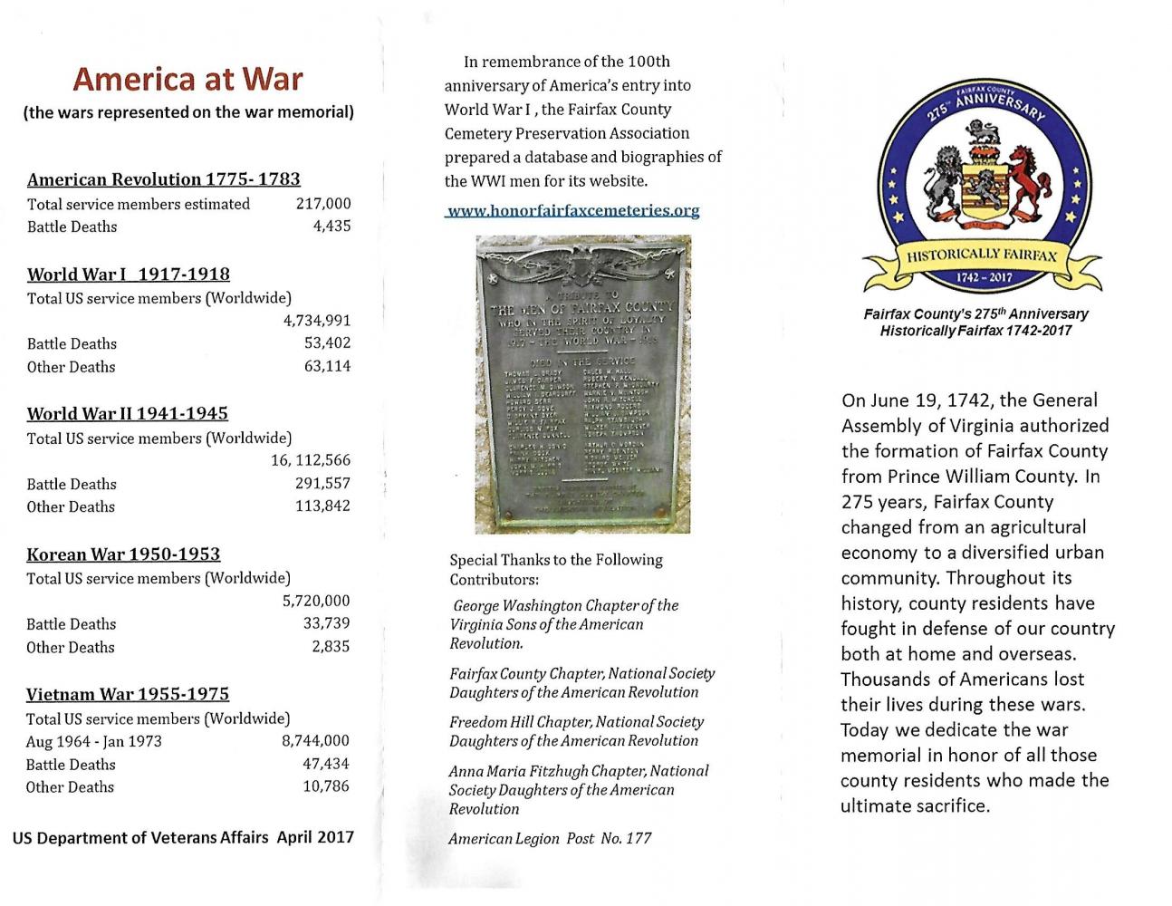 Fairfax County [Virginia] War Memorial, USA