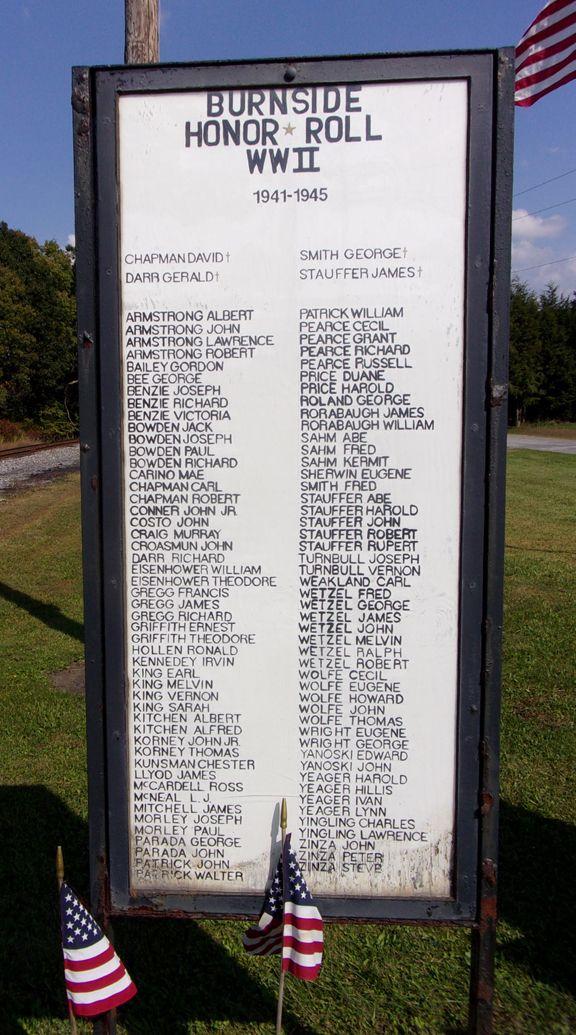 Burnside, Pennsylvania Memorials
