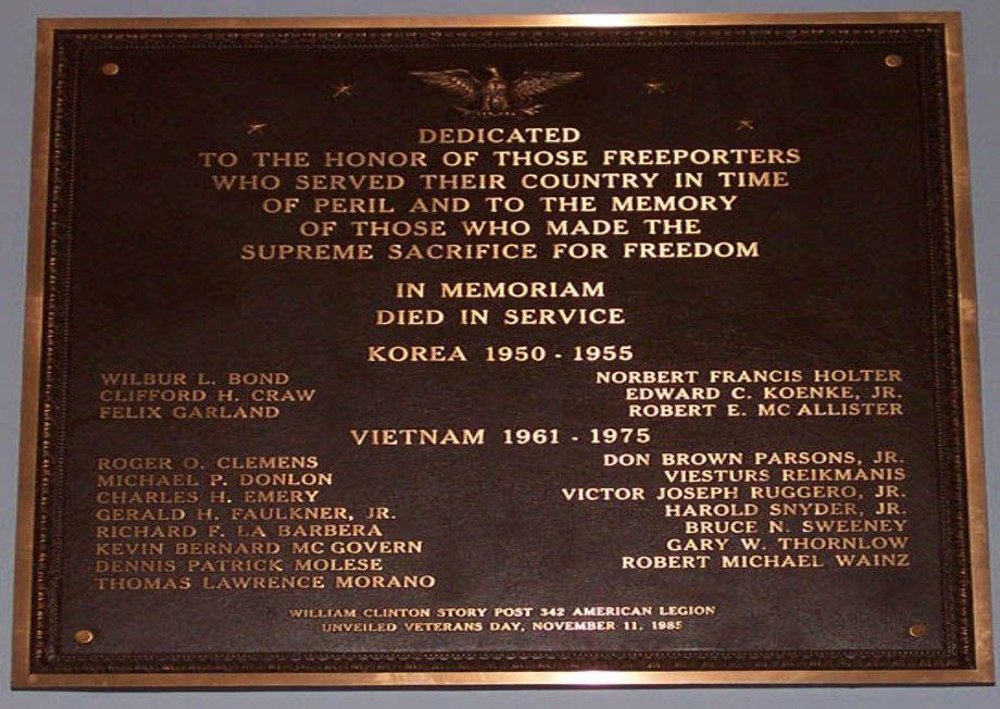 Memorial Plaque - Korea and Vietnam