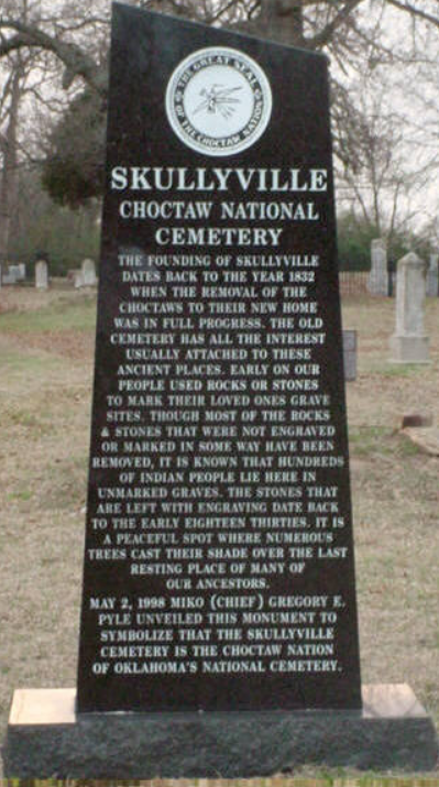 Choctaw Nation Skullyville Cemetery Monument