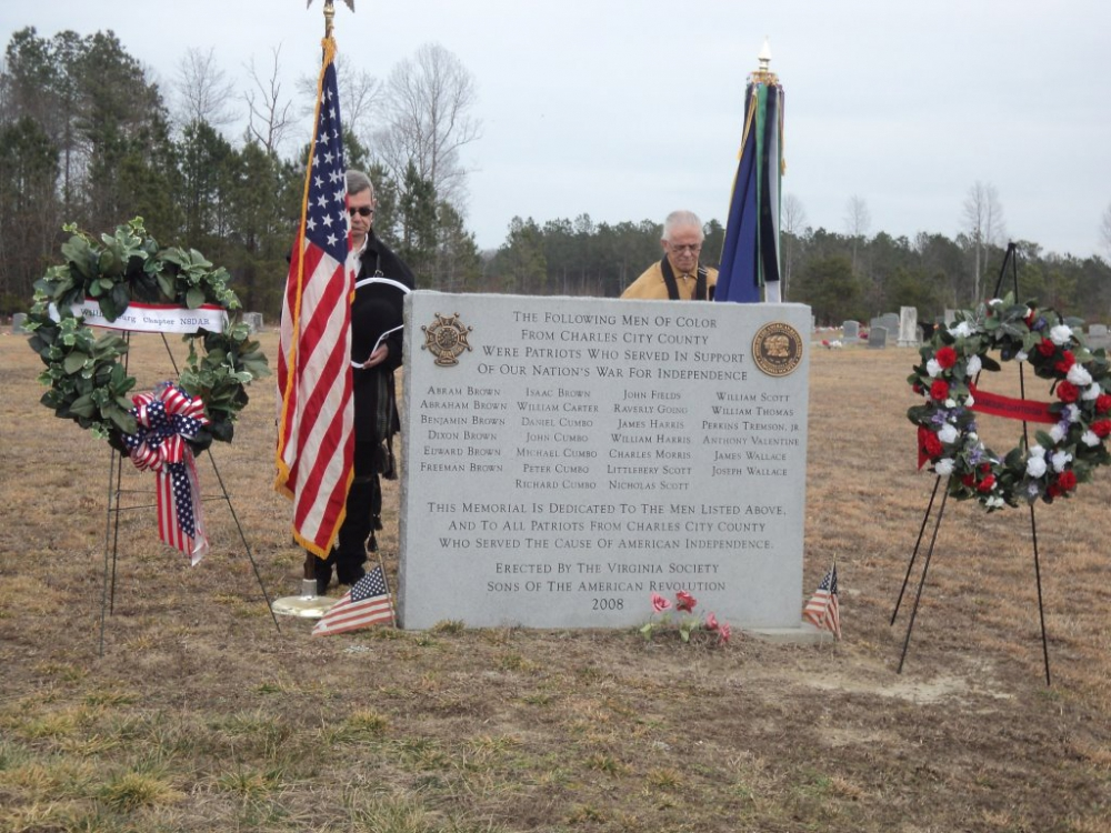 Memorial to Men of Color of Charles City County, Va who fought in the American Revolution
