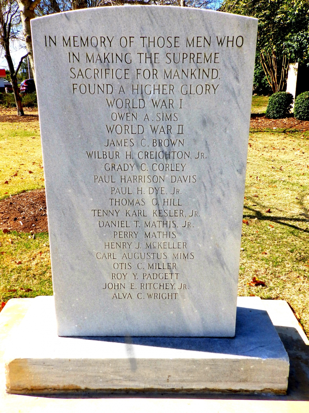 North Augusta Killed in Action Monument