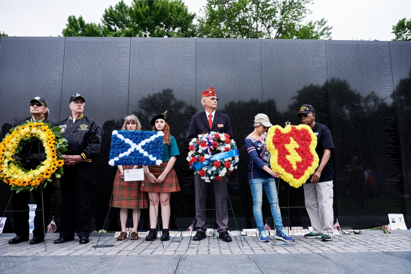 Vice-Commander presents wreath at Vietnam Memorial ceremony