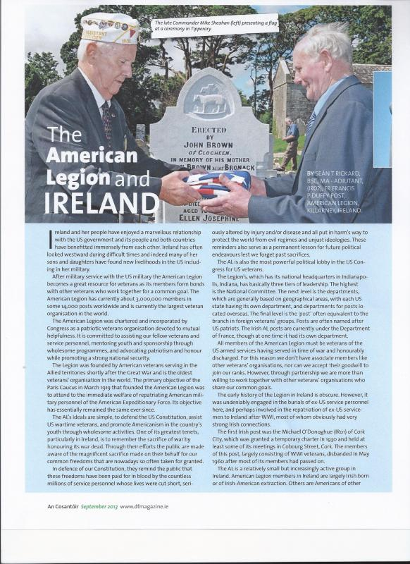"An Cosantóir 9/13 issue - ""The American Legion in Ireland"""