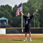 Past National Commander Jake Comer, throws out the first pitch before Henderson, Nev., Post 40 faces off against Bryant, Ark., Post 298 during game 13 of The American Legion World Series on Monday, August 14, 2017 in Shelby, N.C.. Photo by Matt Roth/The American Legion.