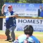 Medal of Honor recipient Don Ballard throws the first pitch before Bryant, Ark., Post 298 defeats Hopewell, N.J., Post 339 7-4 in game 7 of The American Legion World Series on Saturday, August 12, 2017 in Shelby, N.C.. Photo by Lucas Carter/The American Legion.