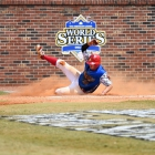 Martin Money of Midland Mich., Post 165 slides into home scoring the only run of the game against Henderson, Nev., Post 40 during game 10 of The American Legion World Series on Sunday, August 13, 2017 in Shelby, N.C.. Photo by Matt Roth/The American Legion.
