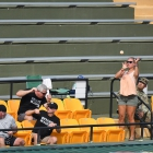 Fans dodge a foul ball during the Henderson, Nev., Post 40 game against Bryant, Ark., Post 298, game 13 of The American Legion World Series on Monday, August 14, 2017 in Shelby, N.C.. Photo by Matt Roth/The American Legion.