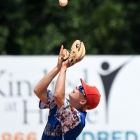 Noah Ingram of Midland Mich., Post 165 catches a pop fly during the game against Henderson, Nev., Post 40 during game 10 of The American Legion World Series on Sunday, August 13, 2017 in Shelby, N.C.. Photo by Matt Roth/The American Legion.
