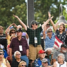 "Fans dance to ""YMCA"" as Randolph County, N.C., Post 45 squares off against Lewiston, Idaho, Post 13 in game 8 of The American Legion World Series on Saturday, August 12, 2017 at Veterans Field at Keeter Stadium in Shelby, N.C. Photo by Matt Roth/The American Legion."