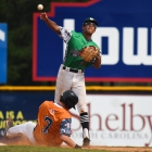 Riley Way of Lewiston, Idaho, Post 13 throws over a sliding Peyton Williams of Randolph County, N.C., Post 45 in game 8 of The American Legion World Series on Saturday, August 12, 2017 at Veterans Field at Keeter Stadium in Shelby, N.C. Photo by Matt Roth/The American Legion.