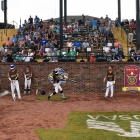 Members of the Omaha, Neb., Post 1 team warming up at the top of the first inning against Shrewsbury, Mass., Post 397 in game 9 of The American Legion World Series on Saturday, August 12, 2017 in Shelby, N.C.. Photo by Matt Roth/The American Legion.