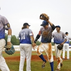 Members of Nev., Post 40 celebrate their 7-3 win over Bryant, Ark., Post 298 during game 13 of The American Legion World Series on Monday, August 14, 2017 in Shelby, N.C.. Photo by Matt Roth/The American Legion.