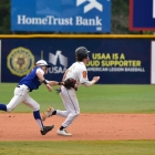 Tom Steier of Omaha, Neb., Post 1 chases down and tags Adam Twitchell of Shrewsbury, Mass., Post 397 between second and third base during game 9 of The American Legion World Series on Sunday, August 13, 2017 in Shelby, N.C.. Photo by Matt Roth/The American Legion.