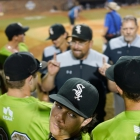 The Bryant, Ark., Post 298 coaching staff talks to their players after a 5-0 win over Randolph County, N.C., Post 45 in game 12 of The American Legion World Series on Sunday, August 13, 2017 at Veterans Field at Keeter Stadium in Shelby, N.C. Photo by Matt Roth/The American Legion.