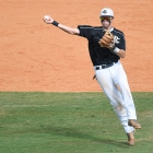 Peyton Williams of Randolph County, N.C., Post 45 throws to first during game 14 of The American Legion World Series on Tuesday, August 15, 2017 at Veterans Field at Keeter Stadium in Shelby, N.C. Photo by Matt Roth/The American Legion.