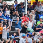 Fans react to a foul ball during The American Legion World Series championship game against Henderson, Nev., Post 40 and Omaha, Neb., Post 1, Tuesday, August 15, 2017 in Shelby, N.C.. Henderson, Nev., beat Omaha, Neb., 2-1 becoming the 2017 ALWS Champions. Photo by Matt Roth/The American Legion.