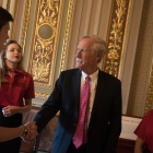 Jackson Peck, Kylee Roberts, River Lisius and Edward York meet with Angus King (ME) in the Senate Reception Room in the US Capitol Building as American Legion Boys Nation and American Legion Auxiliary Girls Nation take to Capitol Hill to meet with their senators and legislative staff on Thursday, July 27, 2017. Photo by Lucas Carter / The American Legion.