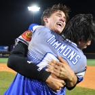 David Hudleson and Gehrig Timmons of Henderson, Nev., Post 40 celebrate after their 2-1 win over Omaha, Neb., Post 1 during the championship game of The American Legion World Series on Tuesday, August 15, 2017 in Shelby, N.C..  Photo by Matt Roth/The American Legion.