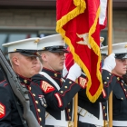 Members of the United States Marine Corp Color Guard present flags during a memorial dedication ceremony at The American Legion Edward W. Thompson Post 49 in South Haven, Mich. Photo by Robert Franklin/The American Legion