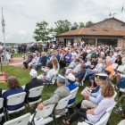 Medal of Honor recipient James C. McCloughan delivers an address during a memorial dedication ceremony at The American Legion Edward W. Thompson Post 49 in South Haven, Mich. Photo by Robert Franklin/The American Legion
