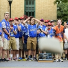 Members of the Midland, Mich., look on nervously while the Randolph County, N.C., team stage a come-back to the cornhole tournament at the American Legion World Series Host City Welcome event Wednesday, August 9, 2017 in uptown Shelby, N.C.