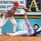 Midland, Mich., second baseman Noah Ingram makes the play to force out Shrewsbury, Mass., center fielder Adam Twitchell in game 1 of The American Legion World Series on Thursday, August 10, 2017 in Shelby, N.C.. Photo by Matt Roth/The American Legion.
