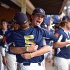 Shrewsbury, Mass., pitcher Parker Browne hugs teammate Christian Jorrdan after taking the lead in game 1 of The American Legion World Series on Thursday, August 10, 2017 in Shelby, N.C.. Photo by Matt Roth/The American Legion.