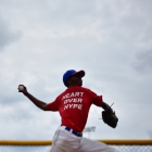 Omaha, Neb., starting pitcher Joshua Culliver warms up before game 2 of The American Legion World Series on Thursday, August 10, 2017 in Shelby, N.C.. Photo by Matt Roth/The American Legion.