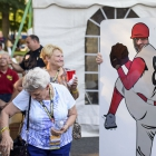 National Adjutant Daniel S. Wheeler has his photo made behind a pitcher cutout during the American Legion World Series Host City Welcome event Wednesday, August 9, 2017 in uptown Shelby, N.C.. Photo by Matt Roth/The American Legion.