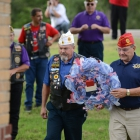 Kansas Department Commander Terry Marr and American Legion National Commander Charles Schmidt lay a wreath on a memorial in Fort Dodge, Kansas on Friday, August 11, 2017. Photo by Clay Lomneth / The American Legion.