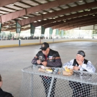 From Left, Trevor McCall and Amanda Larkin from Las Vegas, Nev. and Donald and Carol Riddle from Utah each lunch during a break in Gunnison, Colo. on Sunday, August 13, 2017. Photo by Clay Lomneth / The American Legion.
