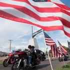 American Legion Riders arrive at Richfield Cemetery in Richfield, Utah on Monday, August 14, 2017. Photo by Clay Lomneth / The American Legion.