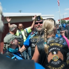 The Rider's I Group celebrates their arrival at the Elks Lodge 597 in Reno, Nev. on Thursday, August 17, 2017. Photo by Clay Lomneth / The American Legion.