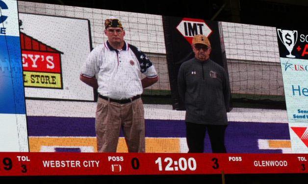 Veteran recognition at the Iowa High School Class 3A Football Semifinal Playoffs